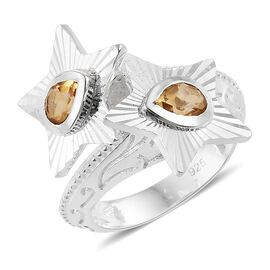 Citrine Twin Floral Ring in Sterling Silver 0.840 Ct.