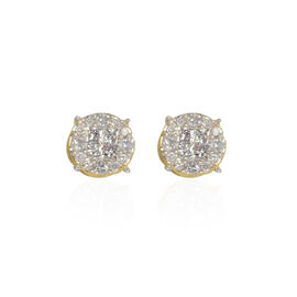 9K Yellow Gold SGL Certified Diamond (Sqr) (I3/G-H) Stud Earrings (with Push Back) Ring 0.500 Ct.