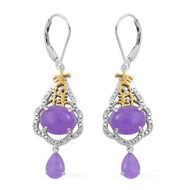 Purple Jade (Ovl), White Topaz Lever Back Earrings in Yellow Gold Overlay and Sterling Silver 8.350 Ct.