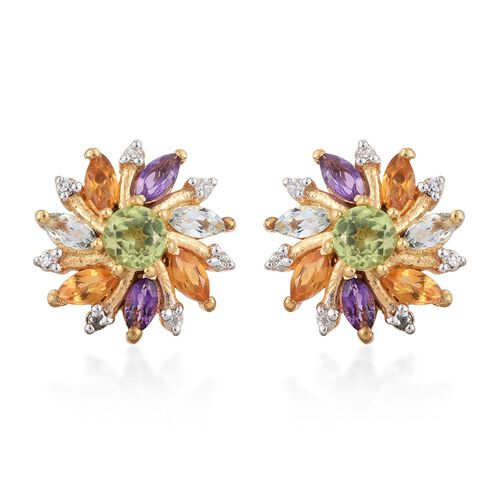 Hebei Peridot (Rnd), Amethyst, Sky Blue Topaz, Citrine and Natural Cambodian Zircon Stud Earrings (with Push Back) in 14K Gold Overlay Sterling Silver 1.550 Ct.