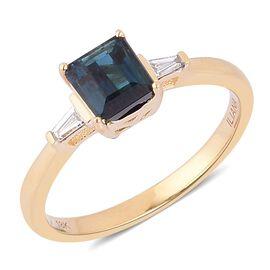 ILIANA 18K Y Gold AAA Monte Belo Indicolite (Oct 1.05 Ct), Diamond (SI/G-H) Ring 1.250 Ct.
