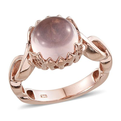 Rose Quartz (Rnd) Solitaire Ring in Rose Gold Overlay Sterling Silver 4.250 Ct.