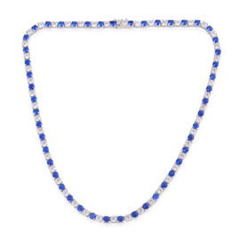 Close Out Deal AAA Simulated Tanzanite (Rnd), Simulated White Diamond Necklace (Size 17) in Silver Bond