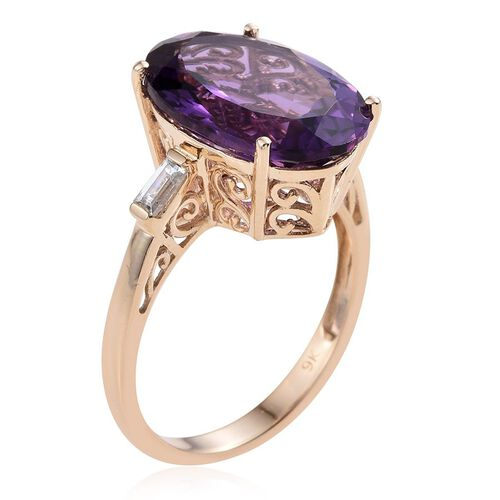 9K Y Gold Zambian Amethyst (Ovl), Natural Cambodian Zircon Ring 11.250 Ct.