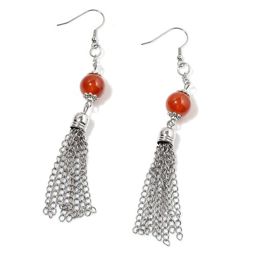 Red Agate Necklace (Size 24) and Hook Earrings in Silver Tone 150.000 Ct.