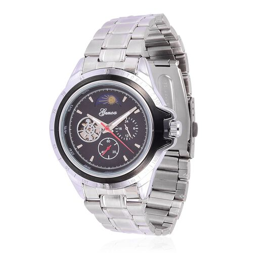 GENOA Automatic Skeleton Black Dial Water Resistant Watch in Silver Tone with Stainless Steel Back and Chain Strap with Gift Box