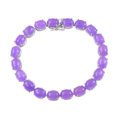Purple Jade (Ovl) Bracelet (Size 7.5) in Platinum Overlay Sterling Silver 47.000 Ct.