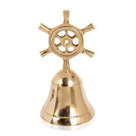 Home Decor - Handbell with Ship Wheel Handle in Gold Bond