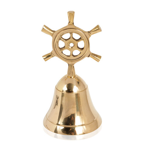 Home Decor - Handbell with Ship Wheel Handle in Gold Bond