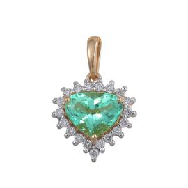 ILIANA 18K Y Gold Boyaca Colombian Emerald (Hrt 1.40 Ct), Diamond Pendant 1.650 Ct.