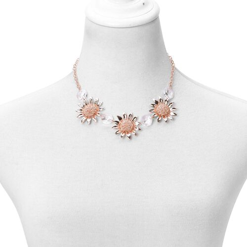 Simulated White Diamond Sun Flower Necklace (Size 20 with 2 inch Extender) in Rose Gold Tone