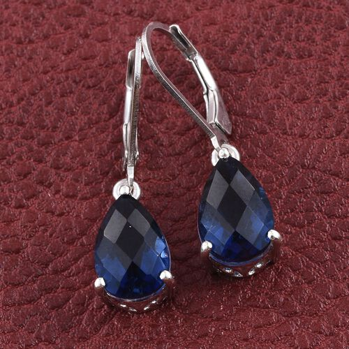 Checkerboard Cut Ceylon Colour Quartz (Pear) Lever Back Earrings in Platinum Overlay Sterling Silver 7.250 Ct.