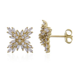 9K Y Gold SGL Certified Diamond (Bgt) (I3/G-H) Starburst Stud Earrings (with Push Back) 0.500 Ct. Gold Wt 2.00 Gms