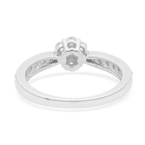 9K White Gold 0.50 Carat Diamond Floral Ring SGL Certified I3 G-H