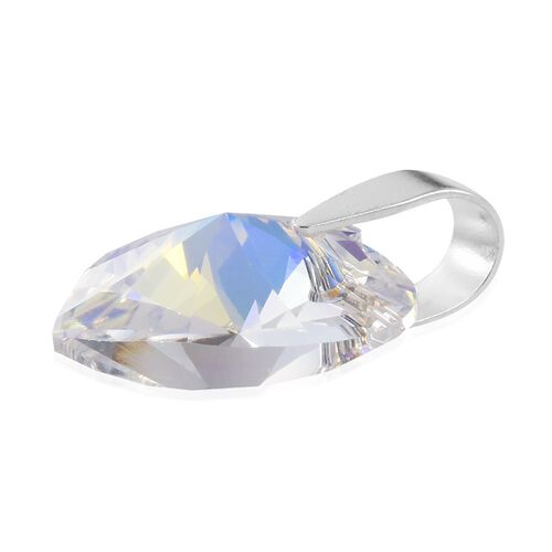 J Francis Crystal from Swarovski - Large AB Crystal (Hrt) Pendant in Sterling Silver