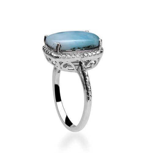 Larimar (Cush 5.00 Ct), Diamond Ring in Platinum Overlay Sterling Silver 5.050 Ct.