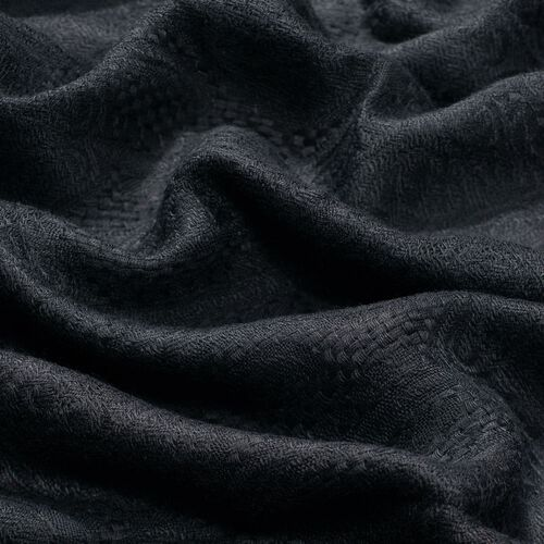 Jacquard Pattern Black Colour Shawl (Size 70x170 Cm)