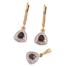 Brazilian Smoky Quartz 0.50 Carat Trillion Pendant and Earrings Silver Set in Gold Overlay with Diamonds