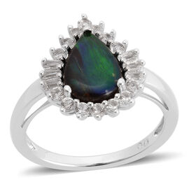 Canadian Ammolite (Pear 1.50 Ct), White Topaz Ring in Rhodium Plated Sterling Silver 2.000 Ct.