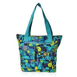Designer Inspired Turquoise and Multi Colour Printed Hand Bag With External Pocket (Size 40x30x11 Cm)