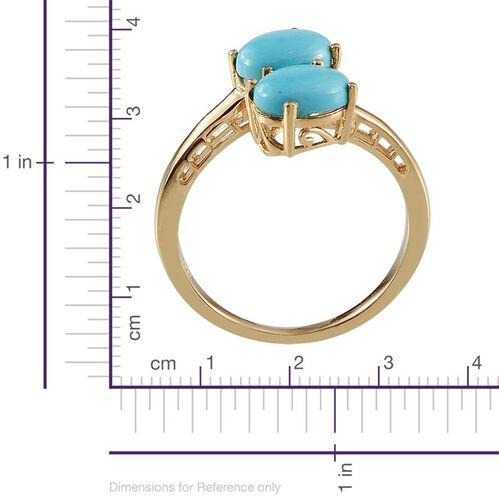 Arizona Sleeping Beauty Turquoise (Ovl) Crossover Ring in 14K Gold Overlay Sterling Silver 2.000 Ct.