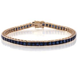 9K Yellow Gold 10.50 Carat Kanchanaburi Blue Sapphire Princess Tennis Bracelet Size 7.5.