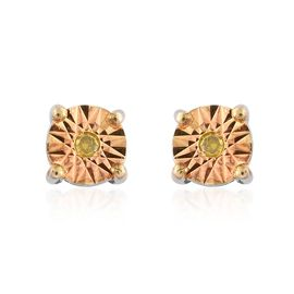 OneTime Deal-  Canary Yellow Diamond (Rnd) Stud Earrings (with Push Back) in Platinum Overlay Sterling Silver