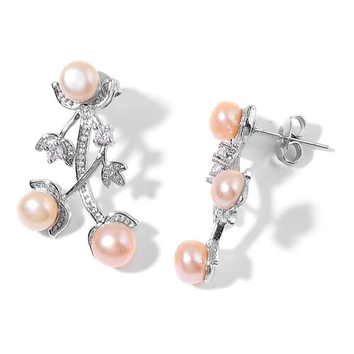 Fresh Water Peach Pearl and Simulated White Diamond Bangle (Size 7.50) and Earrings (with Push Back) in Silver Tone