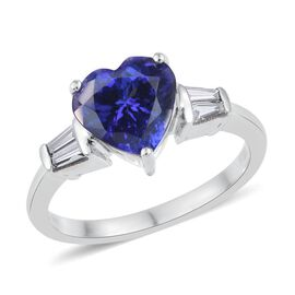 RHAPSODY 950 Platinum AAAA Tanzanite (Hrt 2.06 Ct), Diamond (VS/E-F) Ring 2.250 Ct.