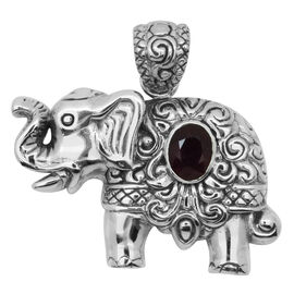 Royal Bali Collection African Ruby (Ovl) Elephant Pendant in Sterling Silver.