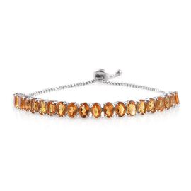 Citrine (Ovl) Adjustable Bracelet (Size 8) in Platinum Overlay Sterling Silver 8.500 Ct.