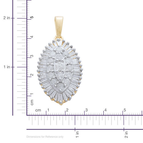 9K Yellow Gold 1 Carat Diamond Cluster Pendant SGL Certified I3 G-H
