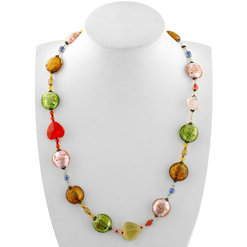 COLOUR COUTURE- Designer Inspired Multi Colour Glass Necklace (Size 20) in Stainless Steel  400.000  Ct.