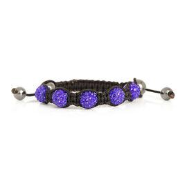 Hematite and Purple Austrian Crystal Bracelet (Size 7.5) 32.001 Ct.