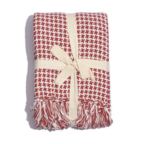 100% Cotton Houndstooth Pattern Red and White Colour Plaid with Fringes (Size 150x125 Cm)