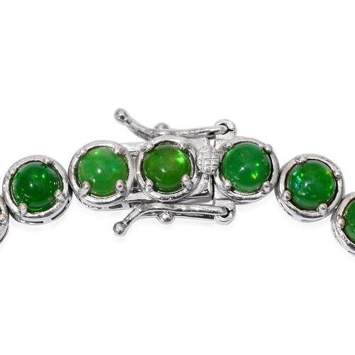 Green Ethiopian Opal (Rnd) Bracelet in Platinum Overlay Sterling Silver (Size 7.5) 7.000 Ct.