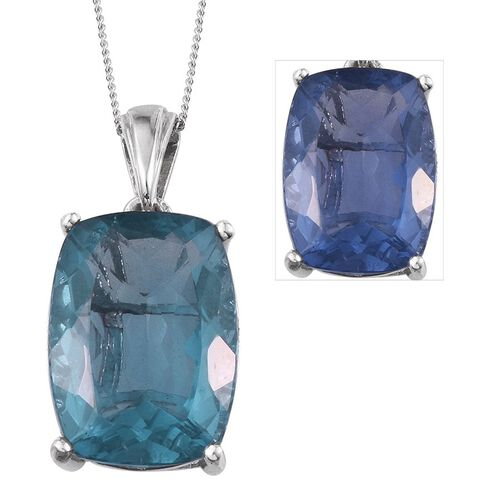 Colour Change Fluorite (Cush) Pendant With Chain in Platinum Overlay Sterling Silver 15.000 Ct.