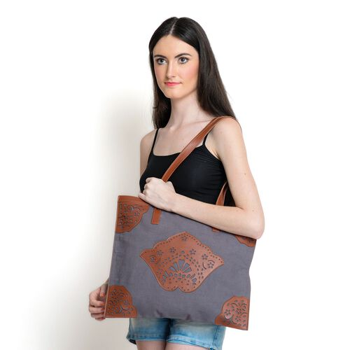 Laser Cut Pattern Chocolate and Dark Grey Colour Cotton Tote Bag (Size 42x36 Cm)