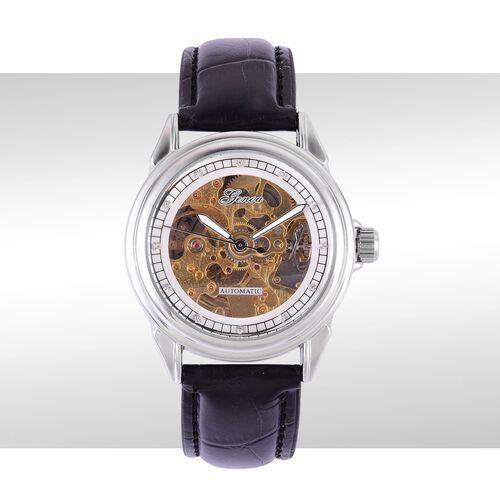 GENOA Automatic Skeleton White Austrian Crystal Studded Golden and White Dial Water Resistant Watch in Silver Tone with Stainless Steel Back and Black Leather Strap