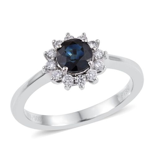 RHAPSODY 950 Platinum 1.15 Carat Natural Blue Sapphire Round Halo Ring, Diamond VS E-F.