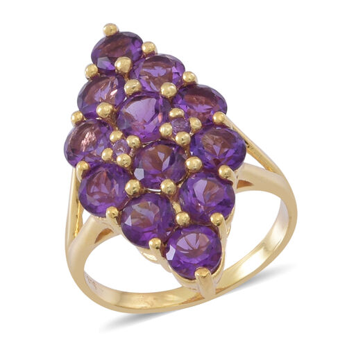 Amethyst (Rnd) Cluster Ring in 14K Gold Overlay Sterling Silver 9.000 Ct.