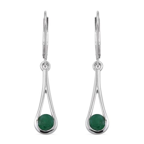 Kagem Zambian Emerald (Rnd) Lever Back Earrings in Platinum Overlay Sterling Silver 1.000 Ct.