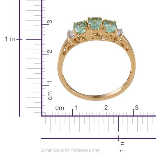 Boyaca Colombian Emerald (Ovl), Diamond Ring in 14K Gold Overlay Sterling Silver 1.500 Ct.