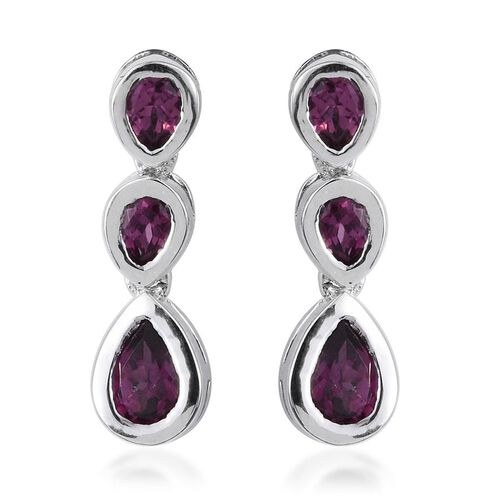 Rare Mozambique Grape Colour Garnet (Pear) Earrings (with Push Back) in Platinum Overlay Sterling Silver 1.750 Ct.