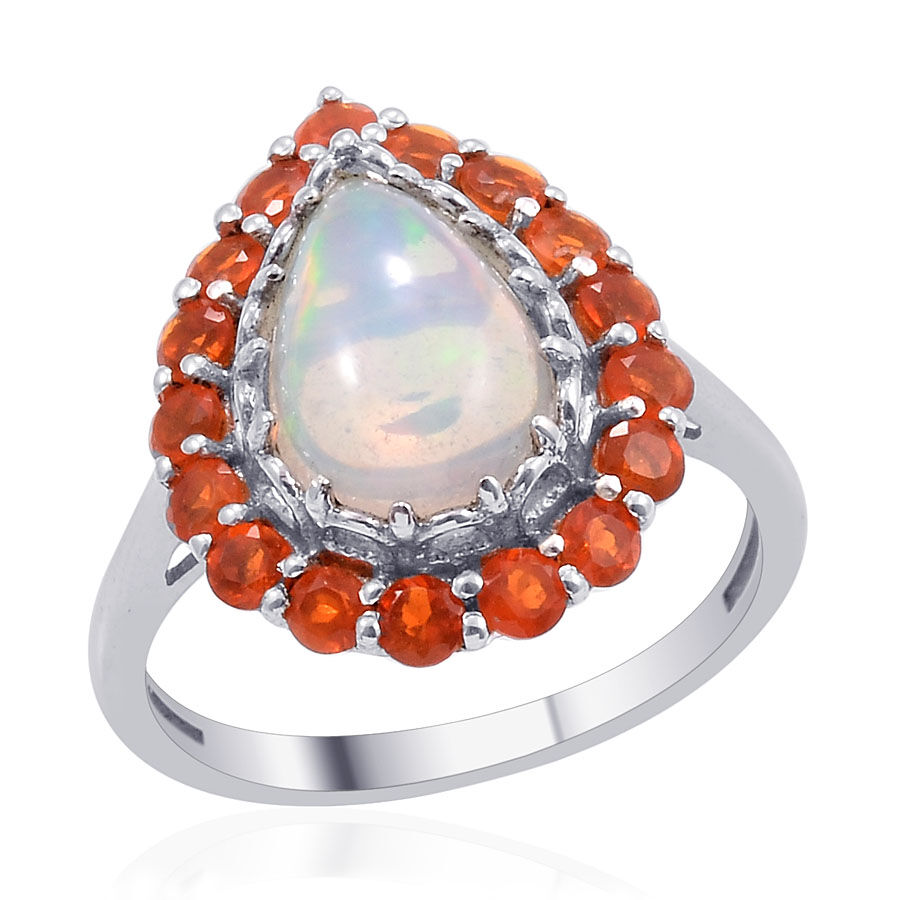 Ethiopian Welo Opal (Pear 1.50 Ct), Jalisco Fire Opal Ring in Platinum ...
