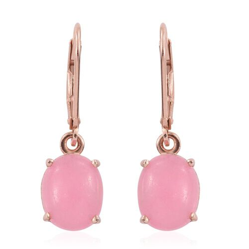 Pink Jade (Ovl) Lever Back Earrings in Rose Gold Overlay Sterling Silver 7.000 Ct.
