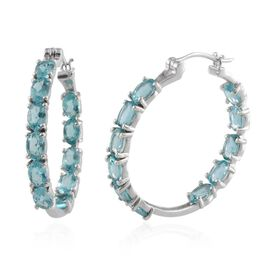 AA Paraibe Apatite (Ovl) Hoop Earrings (with Clasp) in Platinum Overlay Sterling Silver 10.500 Ct.