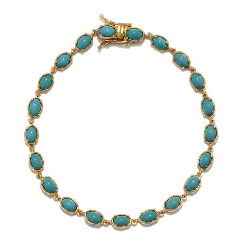Arizona Sleeping Beauty Turquoise (Ovl) Bracelet in 14K Gold Overlay Sterling Silver (Size 8) 6.250 Ct.