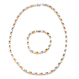 Yellow Gold Plated and Stainless Steel Necklace and Bracelet