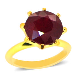 African Ruby (Rnd) Solitaire Ring in 14K Gold Overlay Sterling Silver 15.000 Ct.